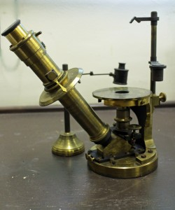 Reversed light path microscope by Nachet et fils